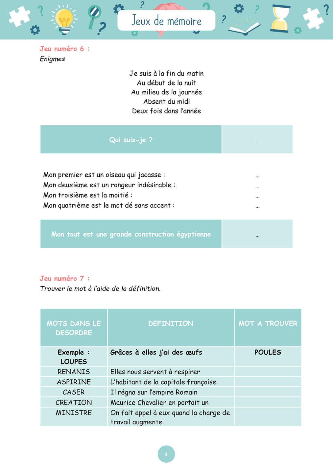 Jeux de mémoire - Mardi 12 janvier 2021 - Page 4