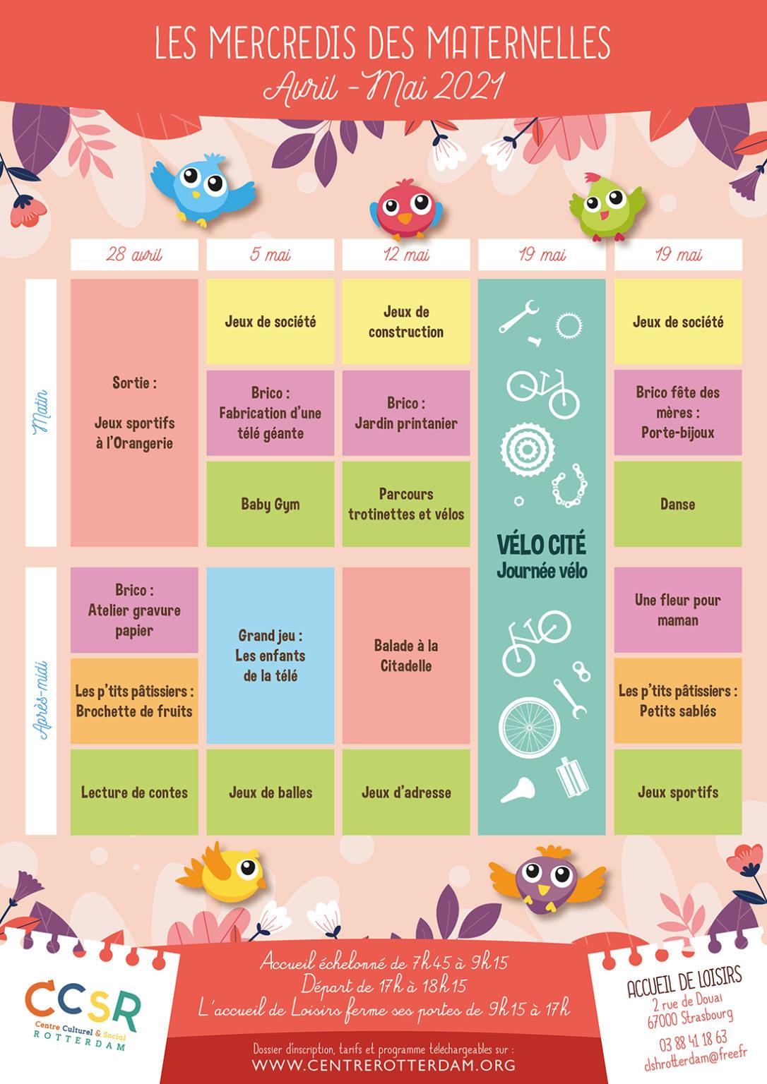 Programme - Les mercredis des maternelles - Avril-Mai 2021