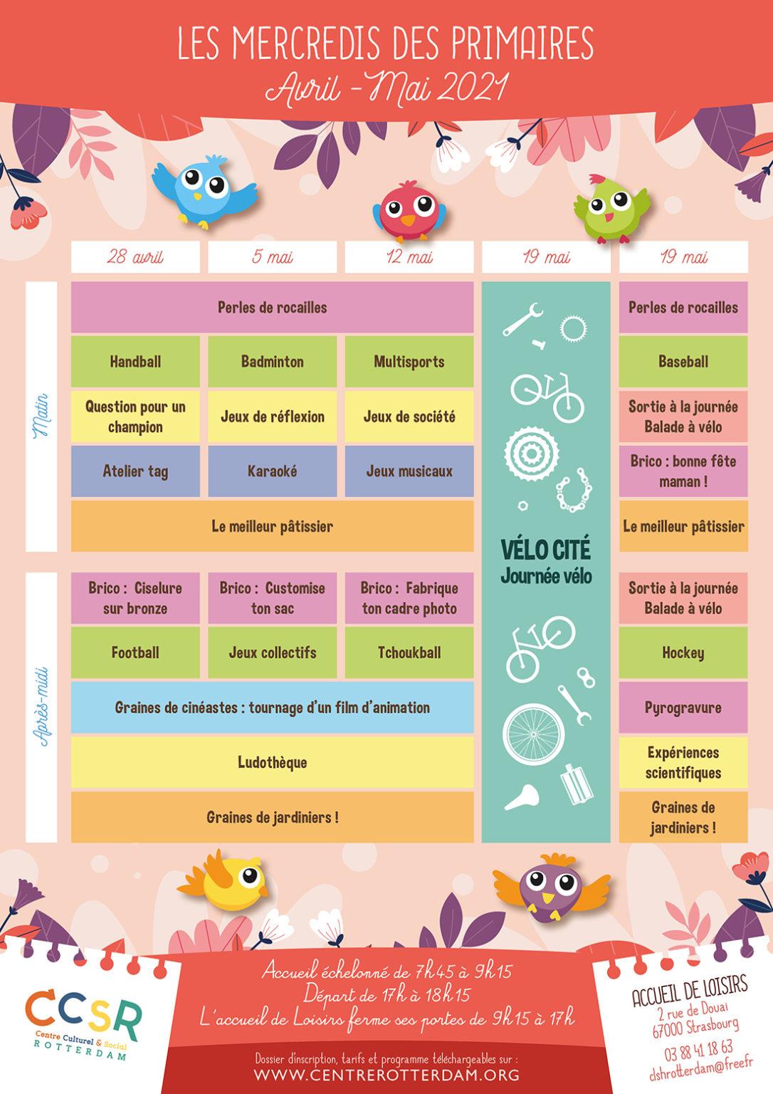 Programme - Les mercredis des primaires - Avril-Mai 2021