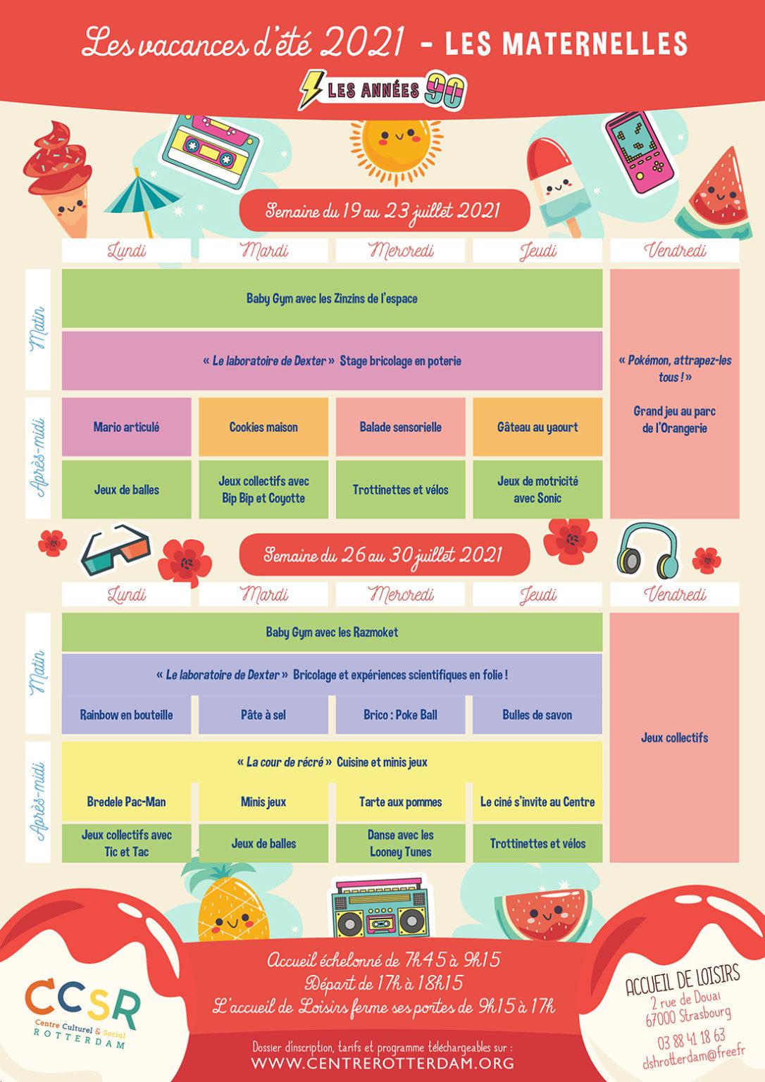 Programme vacances été 2021 - Maternelles - 2