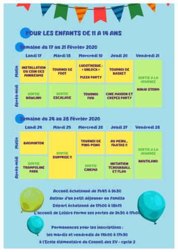 Programme des vacances de février : Les enfants de 11 à 14 ans