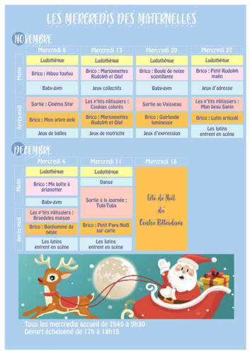 Programme des mercredis des maternelles : Novembre - Décembre 2019