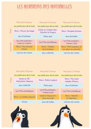 Programme des mercredis des maternelles : janvier/février 2020