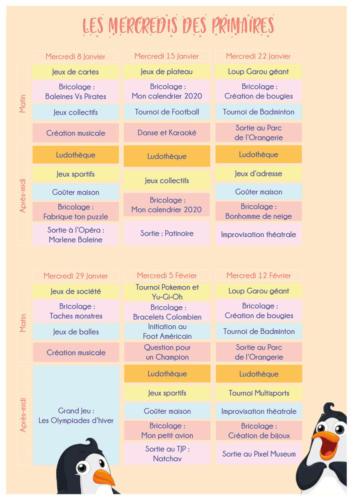 Programme des mercredis des primaires : janvier/février 2020